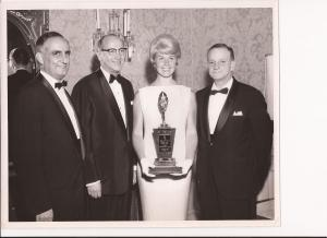 My Father George Gus Kerasotes in 1961 presenting Miss Doris Day with her Star of The Year Award as Out-Going President of TOA [Theatre Owners of America that he founded] by his son Michael Patrick Kerasotes
